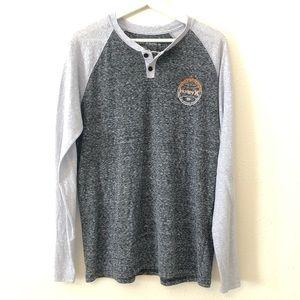HURLEY Premium Fit Long Sleeve Henley Shirt L